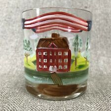 Hand Painted Whiskey Juice Rocks Glass American Patriotic Colonial Home Scene