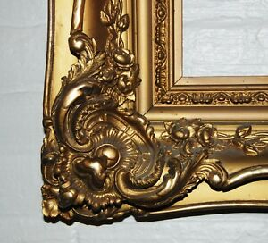 "French Antique Louis XV ornate carved gilded frame mirror 20""x30"" Estate Sale"