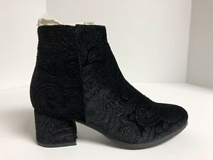 Qupid, Mooch, Women's Size 5.5M Black Embossed Velvet Ankle Bootie