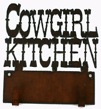 Cowgirl Kitchen Western Decor 2 hook Rustic Metal Key Holder