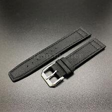 21mm noir toile bracelet en cuir bande + tang buckle pour IWC pilote portugais watch