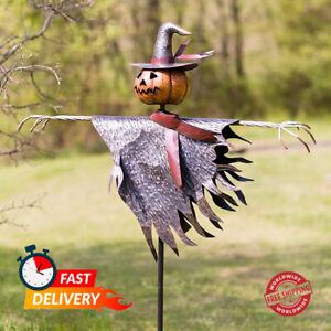 Metal Halloween Scarecrow Jack O' Lantern Ground Stake Outdoor Indoor Decoration