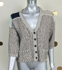 Anthropologie Sparrow Woman Sweater Casual Crop Knit Buttons 3/4 Sleeve Sz XS