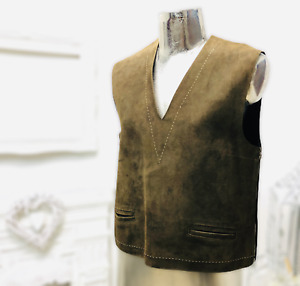Vintage Brown Real Leather Womens Sleeveless Tank Top Waistcoat Size UK 12 Rare