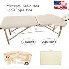 84''L Massage Table Bed Spa Bed Adjustable Portable Foldable Salon 2-Fold Bed Us