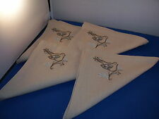Linen Napkins set of 4 Light Choclate with Chocolate Turquoise Bird Design 5