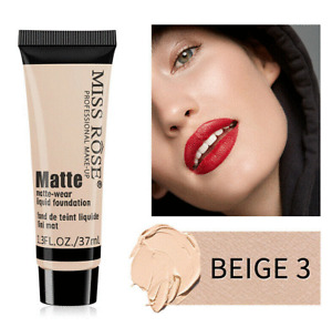 Miss Rose Matte Beige 3 Face Liquid Foundation Cream Concealer Primer Waterproof