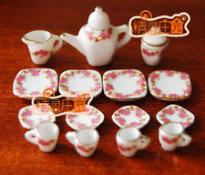 1:12 Scale Doll House Tableware 15PCS Porcelain Tea/Coffee set Dish Cup Plate