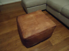 New Antique Tan Leather Ottoman or Sofa, Footstool or Coffee Table