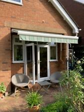 3 metre Luxaflex green & white striped extendable awning_USED in good condition