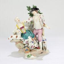 Antique Vienna Porcelain Figurine of a Gallant Couple - Dog Lamb Group PC