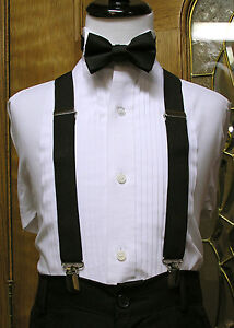 Boys Matching bowtie and suspenders set clip-on x back Black Coral Red Silver
