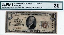 Appleton, Wisconsin  The First NB  $10 1929 Ty. 1  CH# 1749  PMG 20