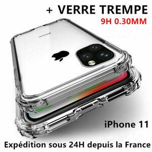 AntiChoc Coque +Verre Trempé iPhone 12/11 Pro MAX/X/XR 6/7/8 SE Vitre Protection