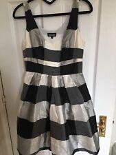 Spotlight By Warehouse Black/cream Check Taffeta Dress Uk Size 10