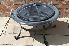Enameled Steel Garden Fire Pit Complete with Removable Barbecue Grill and Mesh