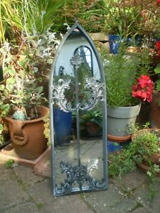 VINTAGE FRENCH 1980'S MEDIEVAL STYLE GARDEN MIRROR, VGC