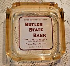 VINTAGE MID-20th CENTURY ADVERTISEMENT GLASS ASHTRAY - BUTLER (MO) STATE BANK