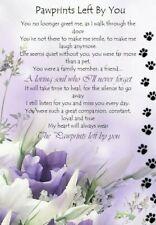 Waterproof Pawprints Pet Bereavement Graveside Memorial keepsake Card