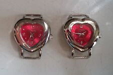 SET OF 2 SILVER FINISH HEART SHAPE WATCH FACES FOR BEADING,RIBBON OR OTHER USE