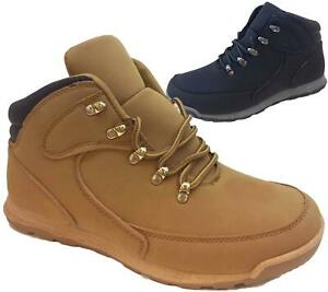 Mens Lace Up Boots Winter Combat Hiking Work High Top Ankle Shoes Size
