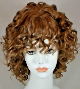 Strawberry Blonde Short Curly Full Wig w Tight Spiral Curls Full Bangs So Cute!