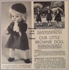 Brownie Doll Dress Cap Tie Belt Pants Shoes 1959 Vintage Knitting PATTERN - A91