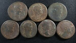 Lot of 7 Sestertii All from Hadrian but different portrait Sestertius Sesterce