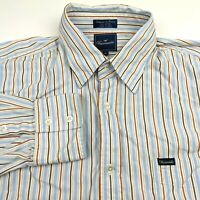 Faconnable Mens XL Button Down Shirt Blue Striped Multi Color Long Sleeve