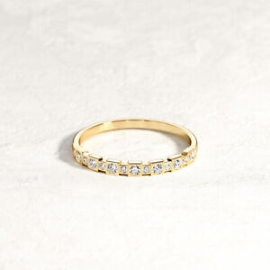 Authentic 14K Half Square Eternity Gold Geometric Wedding Band Victorian Band