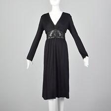 L Cacharel Black Dress 1990s Vegan Leather Long Sleeve Silk Jersey LBD 90s VTG