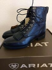 Ariat Womens Heritage Lacer II Black Deertan Ankle Boot Western Size 9 NEW