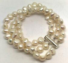 Off White Real Freshwater Pearl Triple Row Bracelet, Solid Sterling Silver. New.