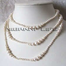 "50"" 3-8mm White Graduated Freshwater Pearl Strand Necklace Fashion Jewelry U"