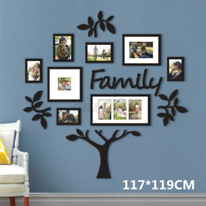 Family Tree Photo Frame Picture Collage Sticker Wall Mount Home Decor