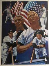 MICKEY MANTLE & Joe DiMaggio Autographed R Simon Poster. Guaranteed Authentic.