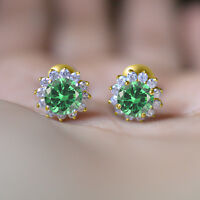 FLOWER SHAPE 14K YELLOW GOLD FINISH 925 STERLING SILVER GREEN SIMULATED EARRINGS