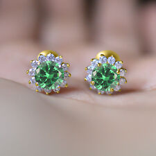 Special Day Gift Round Emerald Fancy Cluster Stud Earrings 14K Yellow Gold Over