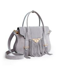 Brand new grey suede leather bag with fringes