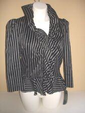 Ralph Lauren Black Pearl Ruffle 3/4 Sleeve Cotton Jacket 10