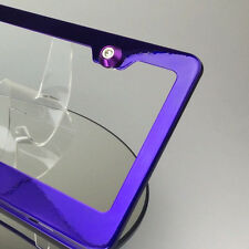 Powder Coat Candy Purple License Plate Frame w/ Aluminum Circle Type Screw Caps