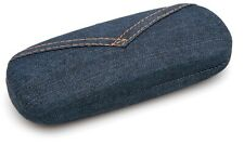 NEW Clam Shell Hard Eyeglasses Case Blue Jeans w/ Microfiber Cleaning Cloth