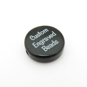 14mm Black Onyx Flat Coin Round Beads - Custom Engraved Name, Words, Dates, Logo