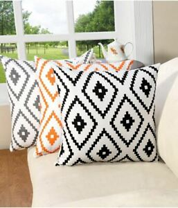 """NEW Set of 2 Gray IKAT Print Throw Pillow Cushion Covers 18"""" x 18"""" Zip Cases"""