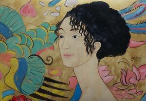 Fine Secession art, unique painting – woman, signed Gustav Klimt, marked