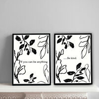 Home Prints A4,Abstract Black Floral Be kind set, Gift, Wall Art-NO FRAME