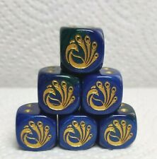 Dice - Chessex Custom Peacocks on 16mm Gemini Blue/Green w/Gold Bird #1 & Pips