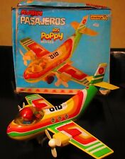 VINTAGE RARE FRICTION TINPLATE PASSENGERS AIRPLANE - LOS POPPY - OBERTOYS SPAIN