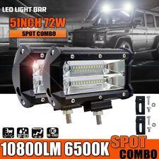 "2x 5"" 72W LED Work Light Bar 4WD Offroad Spotlight Pods ATV SUV Driving Fog Lamp"