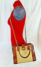 BRAHMIN CARRIE MELBOURNE CROSSBODY BROWN LEATHER TAN STRAW BAG $195 FREE S/H